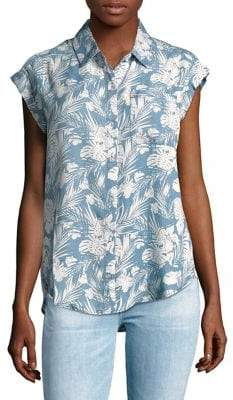 Lord & Taylor Frankie Tropical-Print Shirt