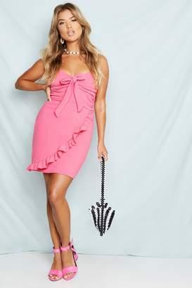 boohoo Tie Front Wrap Skirt Bodycon Mini Dress