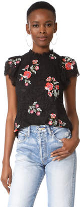 Rebecca Taylor Short Sleeve Lace Top with Embroidery $395 thestylecure.com