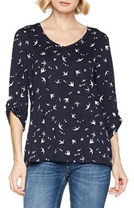 GINA LAURA Women's Shirt Regular, Gerundeter V Kragen Longsleeve T-Shirt,XL