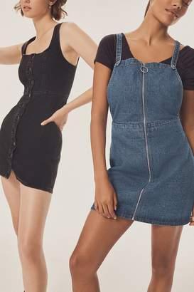 Urban Outfitters Denim Zipper Cross-Back Dress