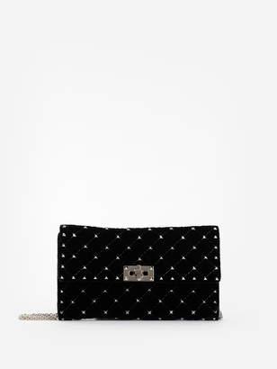 Valentino WOMEN'S BLACK VELVET ROCKSTUD SPIKE SHOULDER CHAIN CLUTCH BAG