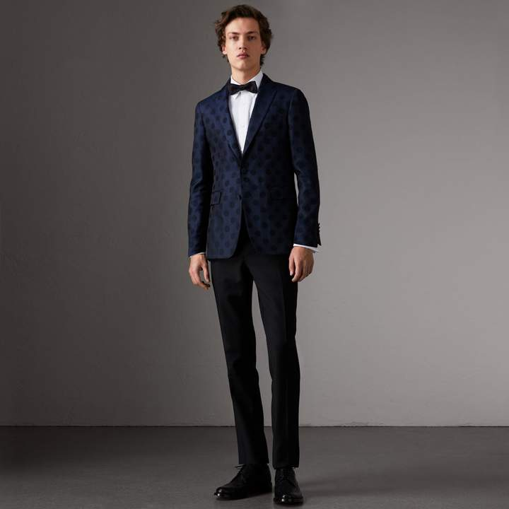 Burberry Soho Fit Spot Wool Silk Cotton Evening Jacket