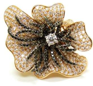 Black Diamond 18K Rose Gold White & Fancy Pave Flower Cocktail Ring