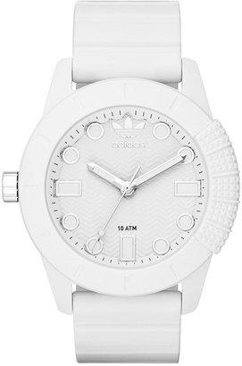adidas Unisex Originals White Silicone Strap Watch 44mm ADH3102 $85 thestylecure.com