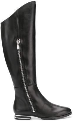 DKNY striped heel knee boots