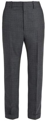Bottega Veneta Tapered Leg Windowpane Check Wool Trousers - Mens - Grey