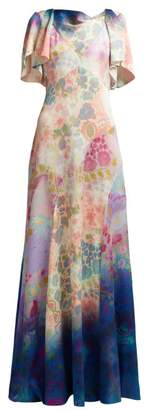 Peter Pilotto Floral Print Silk Blend Dress - Womens - Blue Multi