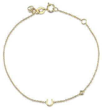 Sydney Evan Syd by 14K Yellow Gold Plated Sterling Silver Diamond Horseshoe Bracelet - 0.015 ctw
