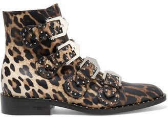 Givenchy - Studded Ankle Boots In Leopard-print Leather - Leopard print $1,450 thestylecure.com