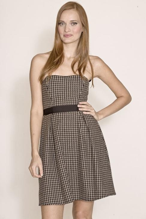 Corey Lynn Calter Haley Houndstooth Strapless Dress in Black/Brown