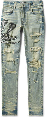 Amiri MX1 Skinny-Fit Appliqued Faux Snake-Panelled Distressed Stretch-Denim Jeans - Men - Blue