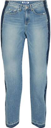 Sjyp Cropped Distressed High-rise Straight-leg Jeans - Mid denim