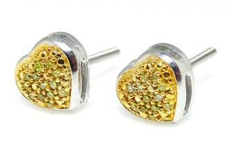 White Gold Finish 925 Sterling Silver Yellow Diamond Heart Shape Stud Earrings Ladies