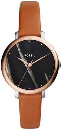 Fossil Women Jacqueline Brown Leather Strap Watch 36mm