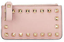 Valentino Rockstud Leather Key Chain Card Case