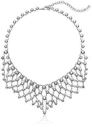 """1928 Jewelry Silver-Tone Genuine Swarovski Crystal Bib Statement Necklace 14"""" Adj."""