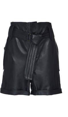 Dundas High Waist Leather Shorts With Belt