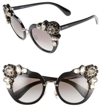 Women's Miu Miu 52Mm Cat Eye Sunglasses - Black