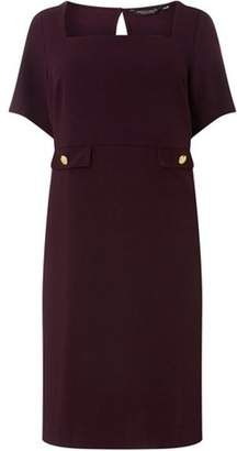 Dorothy Perkins Womens **DP Curve Wine Button Pocket Fit and Flare Dress
