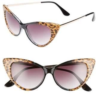 Cat Eye GLANCE EYEWEAR 62mm Leopard Print Sunglasses