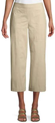 Eileen Fisher Stretch Poplin Wide-Leg Cropped Trousers