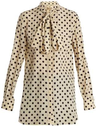 Burberry Avocet polka-dot print high-neck silk shirt