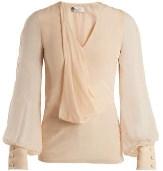 Lanvin V Neck Draped Front Silk Blouse - Womens - Light Pink