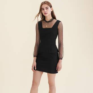 Maje Dual-material dotted Swiss dress