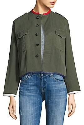 Harvey Faircloth Women's Crop Leather Trim Jacket