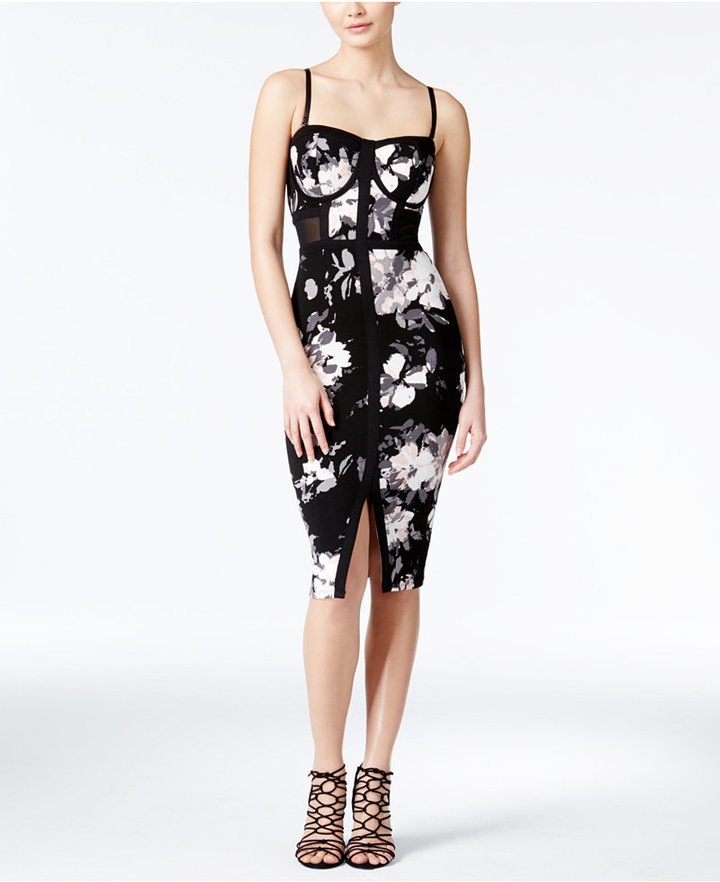 Material Girl Juniors' Printed Bodycon Midi Dress, Only at Macy's