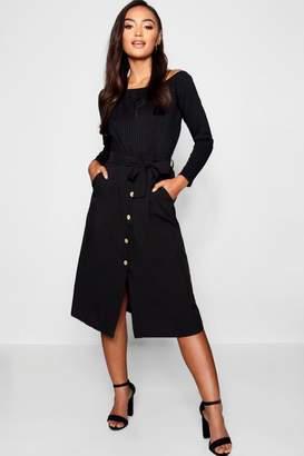 boohoo Petite Button Front Tie Waist Midi Skirt