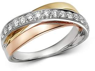 Bloomingdale's Diamond Three Tone Crossover Band in 14K White Gold, 14K Rose Gold & 14K Yellow Gold, 0.45 ct. t.w. - 100% Exclusive