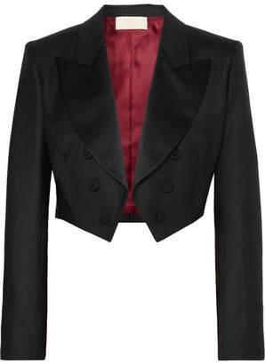 Sara Battaglia Cropped Wool-blend Twill Blazer - Black