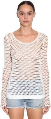 Ermanno Scervino Crystal Embellished Open Knit Top