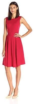 Lark & Ro Women's Sleeveless Ponte Fit and Flare Dress