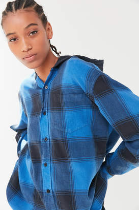 Urban Renewal Vintage Recycled Hooded Flannel Button-Down Shirt