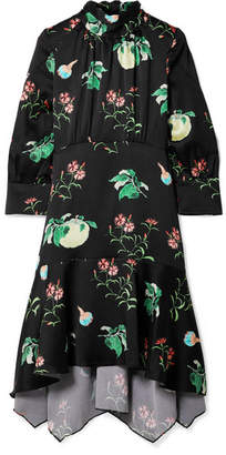 Peter Pilotto Floral-print Hammered-silk Dress - Black