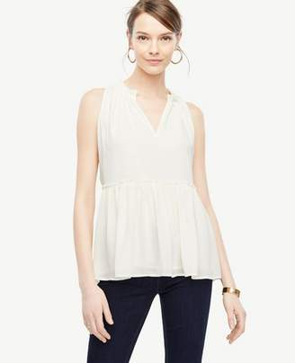 Ann Taylor Ruched Peplum Top