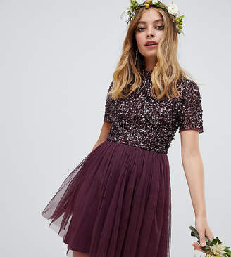 Maya Petite high neck mini tulle dress with tonal delicate sequins in berry