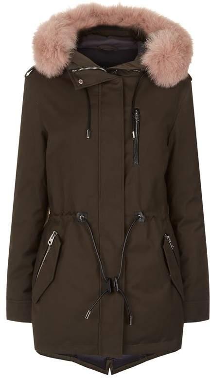 Chara-DX Short Fuschia Fur Lined Twill Parka