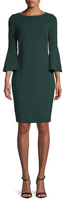 Calvin Klein Scuba Crepe Bell-Sleeve Sheath Dress