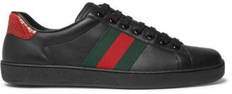 Gucci Ace Snake-Trimmed Leather Sneakers - Men - Black