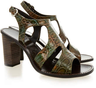 Penelope Chilvers Rio Green Croc Print Sandal