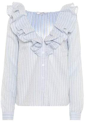Ganni Charron striped seersucker top