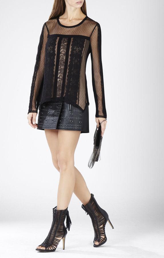 BCBGMAXAZRIAAddyson Lace-Blocked Long-Sleeve Shirt