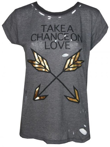 Wildfox Couture Take A Chance Ripped Tee in Metal