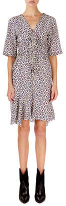 Isabel Marant Arodie Abstract-Floral Zip-Front Dress