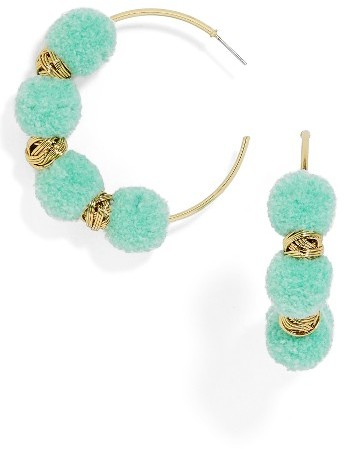 Women's Baublebar Curacao Pompom Hoop Earrings