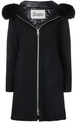 Herno hooded straight fit coat